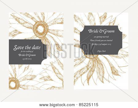 Save The Date Wedding Invitation Card with floral ornament Vector