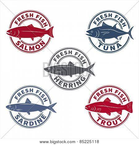 Fish labels set 6 (rubber stamp stylized). Vector illustration.