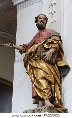 ELLWANGEN, GERMANY - MAY 07: Saint Bartholomew the Apostle, Basilica of St. Vitus in Ellwangen, Germany on May 07, 2014.