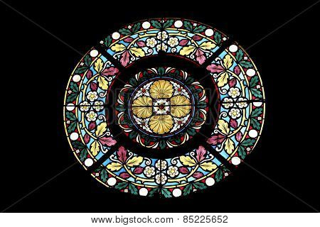 MARIJA BISTRICA, CROATIA - OCTOBER 26: Stained glass window in Basilica Assumption of the Virgin Mary in Marija Bistrica, Croatia, on October 26, 2013