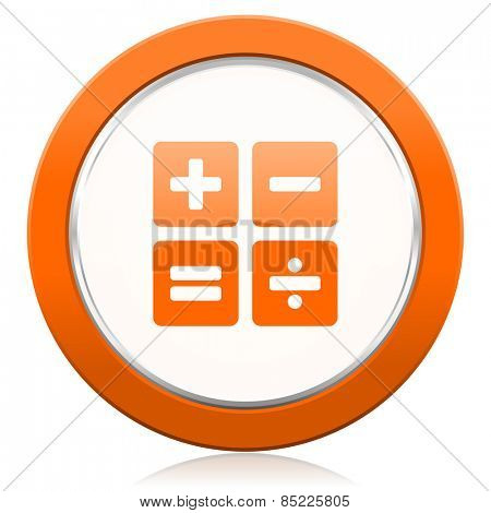 calculator orange icon calc sign
