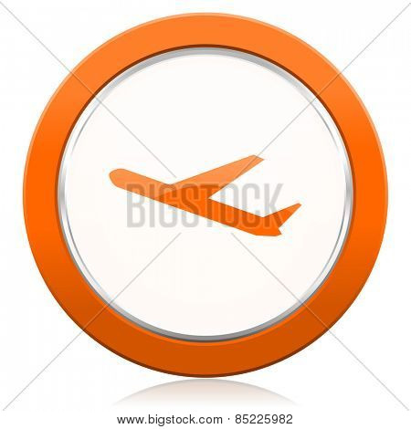departures orange icon plane sign