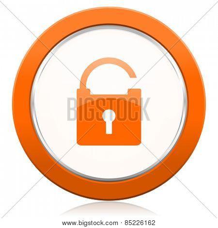padlock orange icon secure sign