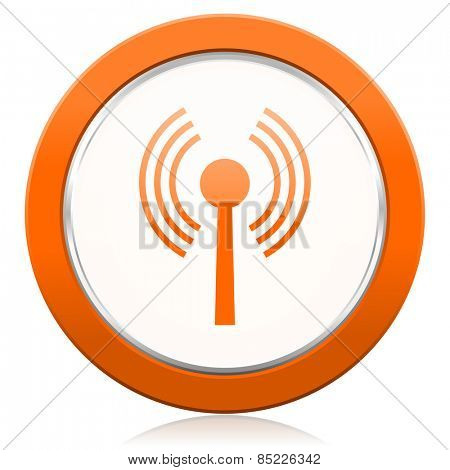 wifi orange icon wireless network sign