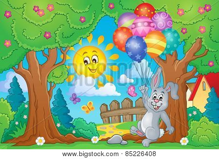 Spring theme with rabbit and balloons - eps10 vector illustration.