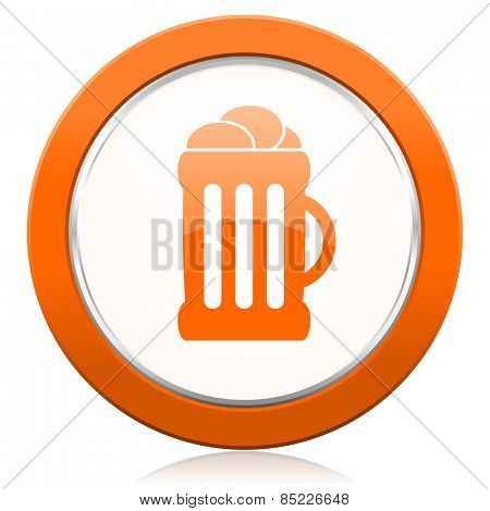 beer orange icon mug sign