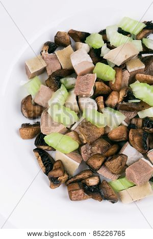 Delicious salad with beef tongue