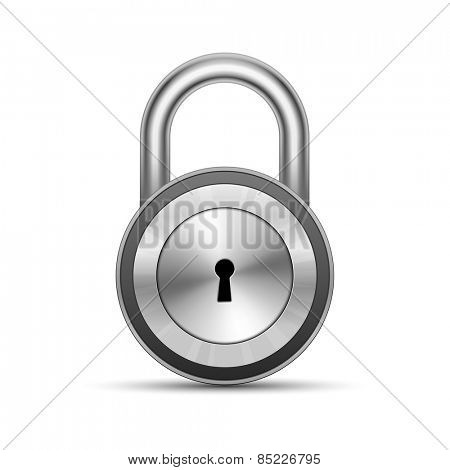 Chrome glossy padlock. Security Concept. Vector Illustration