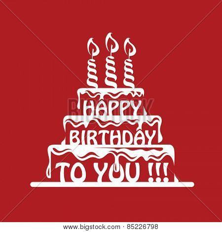 design of birthday cake on a red background