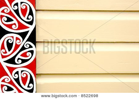 Maori Patterned Frieze On Wooden Building.