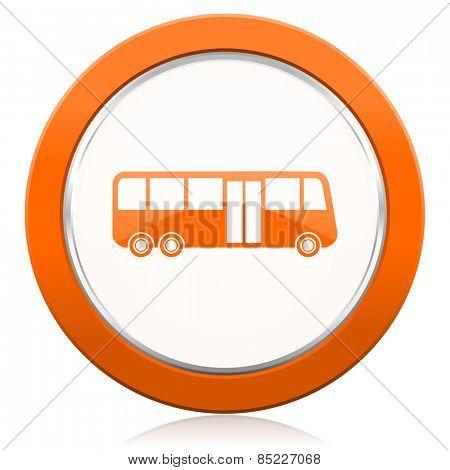 bus orange icon public transport sign