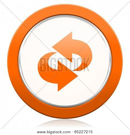 rotation orange icon refresh sign