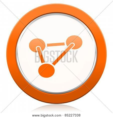 chemistry orange icon molecule sign