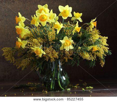 Spring Bouquet In A Transparent Jug