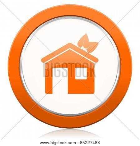 house orange icon ecological home symbol