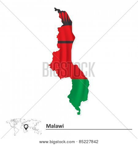 Map of Malawi with flag - vector illustration
