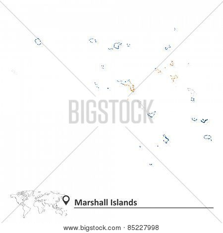 Map of Marshall Islands with flag - vector illustration