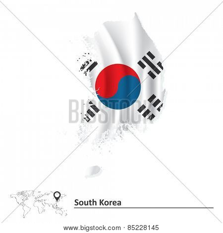 Map of South Korea with flag - vector illustration