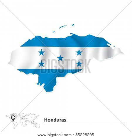 Map of Honduras with flag - vector illustration