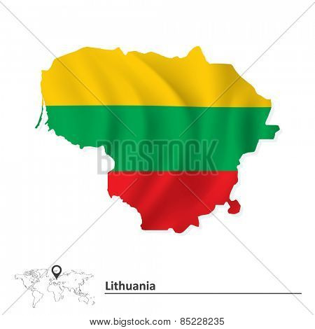Map of Lithuania with flag - vector illustration