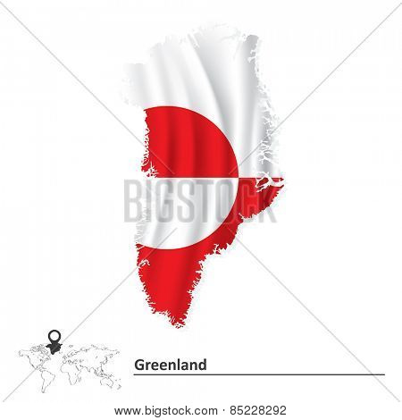 Map of Greenland with flag - vector illustration