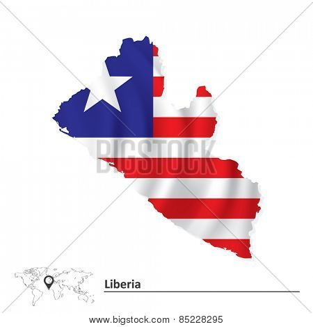 Map of Liberia with flag - vector illustration