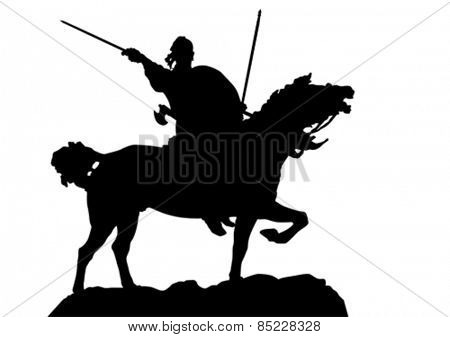 Retro knight and horse on white background