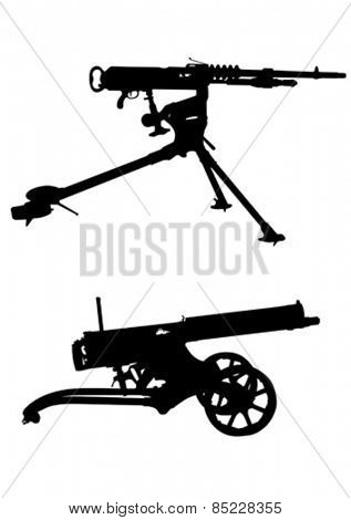 Modern automatic weapons on a white background