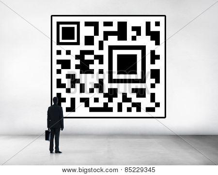 Businessman Encoding QR Code Planning Concept