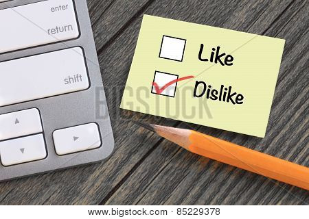 concept of dislike versus like