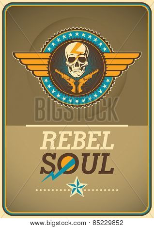 Rebel poster with coat of arms. Vector illustration.