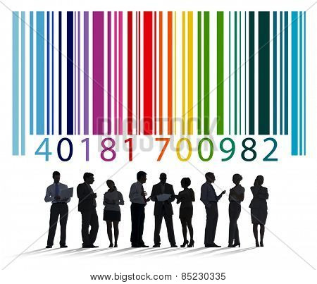 Bar Code Encoding Silhouette People Concept
