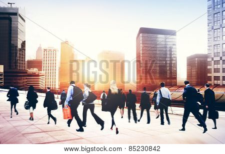 Commuter Business People Corporate Cityscape Walking Travel Concept