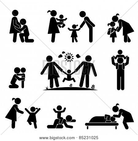 Children and their parents. Pictogram presenting parental love and care for children. Expecting baby, playing with children, hugging, preparing for school, putting children to bed.