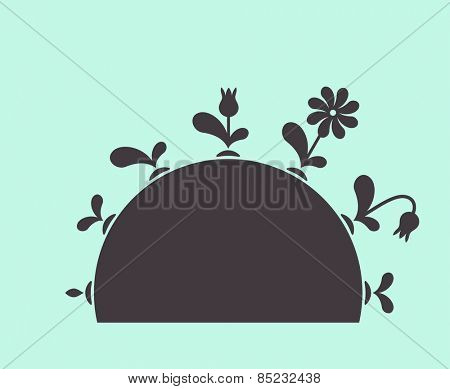 Vector plants growing seed foliage flowers on ground black set