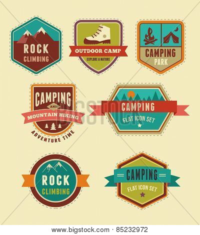 Hiking and camp badges - set of vintage icons, elements