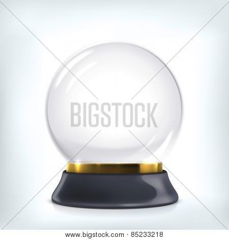 Empty snow globe. Christmas crystal ball.