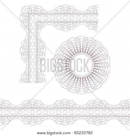 Decorative Elements. Rosette, Border And Corner