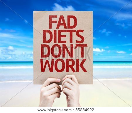 Fad Diets Don't Work card with beach background