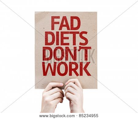 Fad Diets Don't Work card isolated on white background