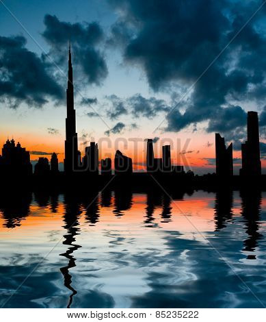 Dubai, United Arab Emirates. city â??â??in the rays of the setting sun