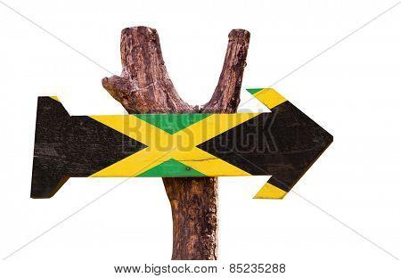 Jamaica Flag sign isolated on white background