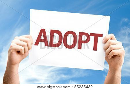 Adopt card with sky background