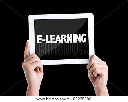 Tablet pc with text E-Learning isolated on black background