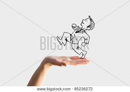 Caricature of businessman running on human hand