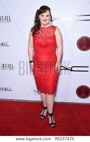 LOS ANGELES - FEB 14:  Jamie Brewer arrives to the Make-Up Artists & Hair Stylists Guild Awards 2015  on February 14, 2015 in Hollywood, CA