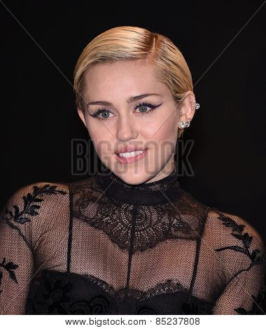LOS ANGELES - FEB 20:  Miley Cyrus arrives to the Tom Ford Autumn/Winter 2015 Womenswear Collection Presentation  on February 20, 2015 in Hollywood, CA
