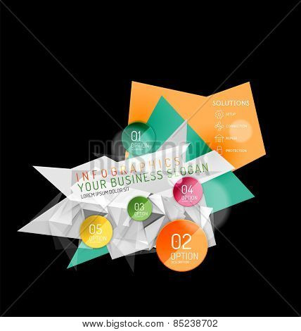 Business abstract triangular infographics layout, 3d composition with options