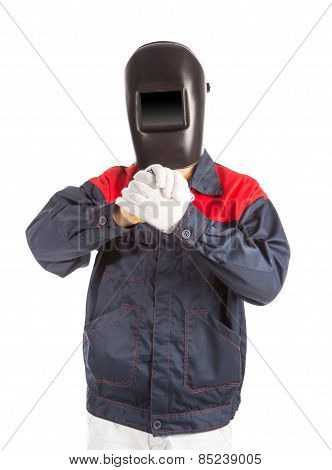 Welder holds his arms.