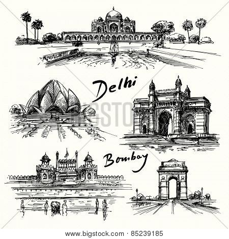 Delhi, Bombay - hand drawn collection